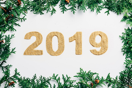 top view of 2019 year sign made of golden glitters and pine branches on white backdrop Archivio Fotografico - 110517986