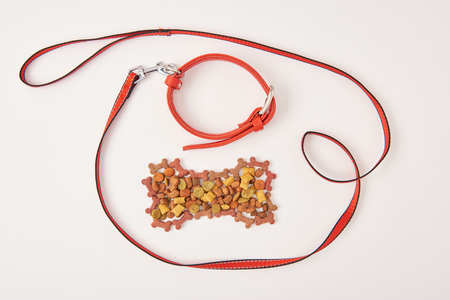 top view of dog collar and leash near bone made of dog food on white surface