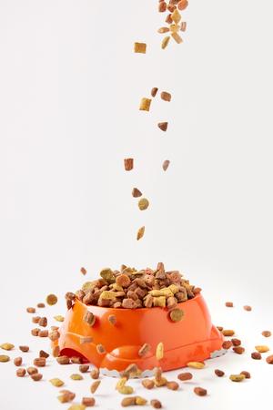 Gránulos de comida para perros cayendo en un recipiente de plástico con comida para mascotas en blanco