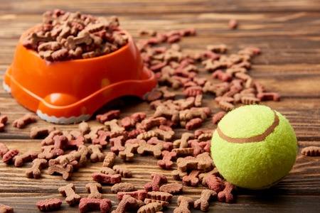 selective focus of plastic bowl with dog food and ball on wooden table Stock Photo
