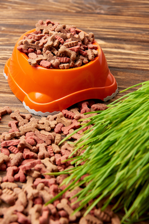 plastic bowl with pile of pet food and grass on wooden table