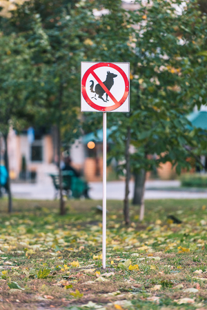 No dog poop sign on lawn in autumn park Banque d'images - 110669878