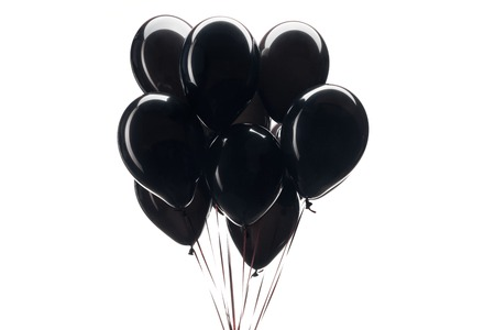 bunch of black balloons isolated on white for black friday sale