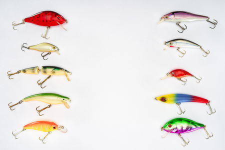 elevated view of various fishing bait placed in two rows isolated on white background