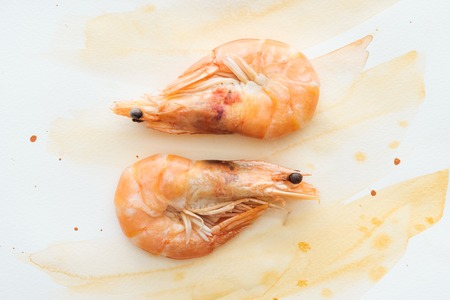 top view of tasty shrimps on white tabletop with watercolor strokes Stock fotó