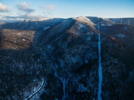 aerial view of beautiful winter landscape with snow-covered mountains, Germany