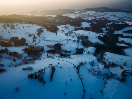 aerial view of beautiful snow-covered hills at winter, Germany 写真素材