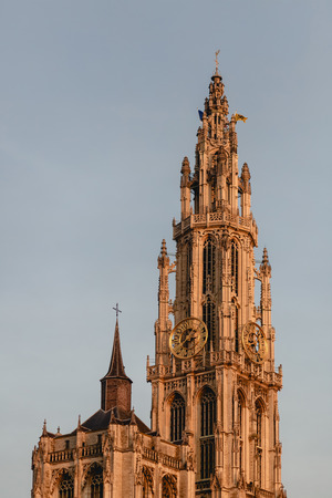 Beautiful architecture of famous Cathedral of Our Lady in Antwerp, Belgium