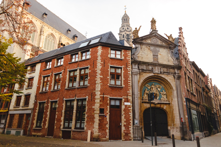 Beautiful ancient architecture in historical quarter of Antwerp, Belgium Stock Photo