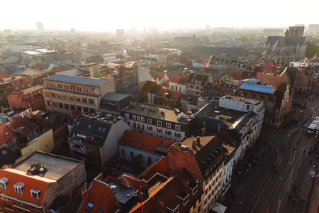 Aerial view of rooftops and urban street in Ghent, Belgium