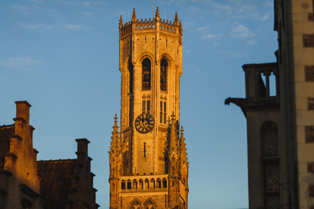 Famous Belfort tower at sunlight, Brugge, Belgium Stock fotó - 110825145