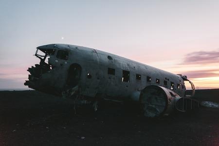 Plane after air crash at sunset in Iceland, Solheimasandur plane wreck