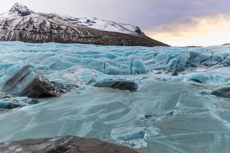 Beautiful landscape with frozen Svinafellsjokull Glacier, Iceland