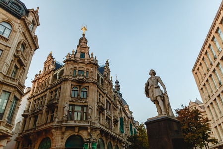 Low angle view of statue in historical quarter of Antwerp, Belgium