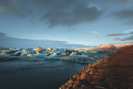 Beautiful scenic view of icebergs floating in water, Iceland, Jokulsarlon lagoon Reklamní fotografie