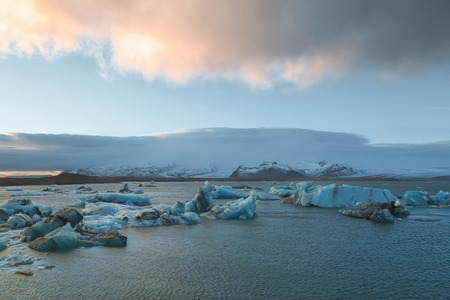 Majestic Icelandic landscape with melting icebergs in cold water, Iceland, Jokulsarlon lagoon
