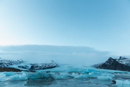 Beautiful Icelandic landscape with melting icebergs in cold water, Iceland, Jokulsarlon lagoon