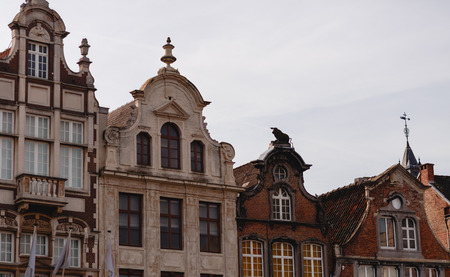 Beautiful traditional buildings in historical quarter of Mechelen, Belgium