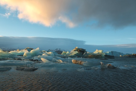 Beautiful scenic landscape with icebergs floating in water, Iceland, Jokulsarlon lagoon
