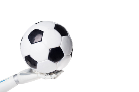 Cropped shot of robot holding soccer ball isolated on white background Stock Photo