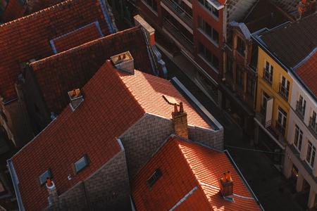 Aerial view of rooftops and narrow street in Ghent, Belgium 版權商用圖片