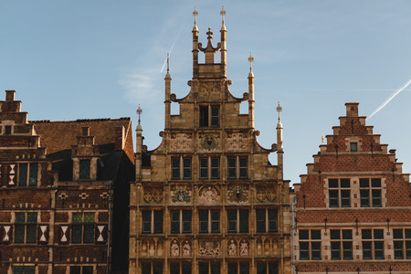 Beautiful architecture of traditional buildings in Ghent, Belgium