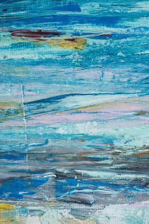 Cerca de trazos de pincel azul de pintura al óleo