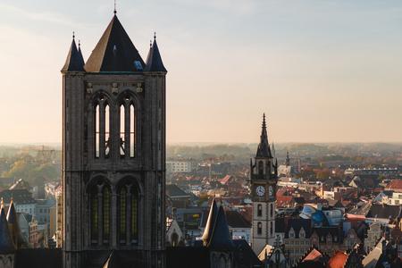 Aerial view of beautiful ancient architecture in historical quarter of Ghent, Belgium 版權商用圖片