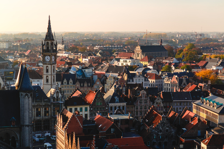 Aerial view of beautiful architecture in historical quarter of Ghent, Belgium