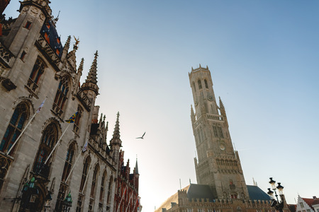 Low angle view of beautiful famous Belfort tower in Brugge, Belgium Stock fotó - 110949612