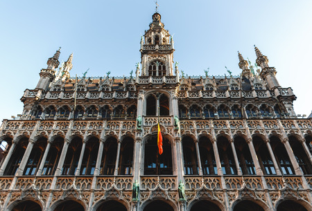 Low angle view of beautiful famous historical building at grand place, Brussels, Belgium Zdjęcie Seryjne