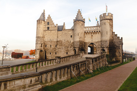 Beautiful architecture of medieval Het Steen fortress in Antwerp, Belgium Stock Photo