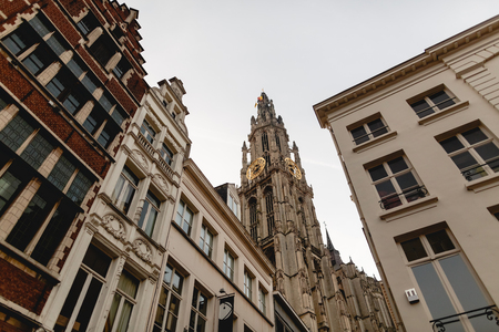 Low angle view of famous cathedral of our lady in Antwerp, Belgium