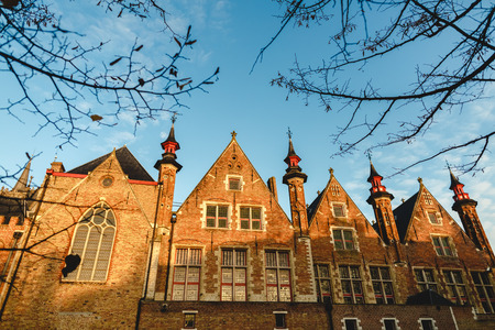 Low angle view of beautiful medieval building in Bruges, Belgium
