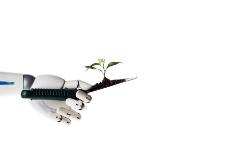 Robot hand holding garden shovel with soil and green plant isolated on white background
