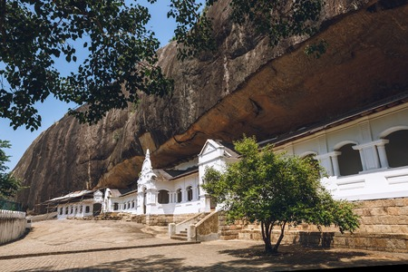 Scenic view of building with mountain behind in Dambulla, Sri Lanka