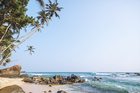 Beautiful scenic view of ocean and blue sky, Unawatuna, Sri Lanka