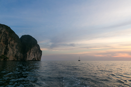 Beautiful scenic view of sunset over ocean, Phi Phi islands