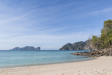Beautiful scenic view of clear blue sky and coastline, Phi Phi islands