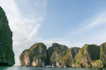 Beautiful scenic view of blue sky, ocean and rocky formations, Phi Phi islands Stok Fotoğraf