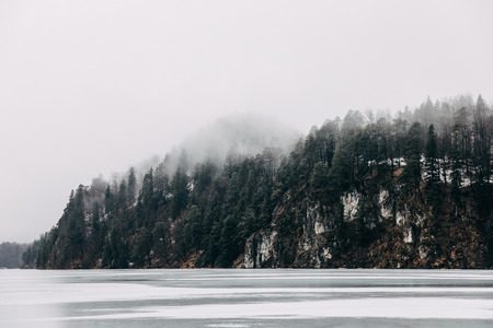 Beautiful tranquil landscape with frozen mountain lake and trees on shore at mist, Fussen, Germany 写真素材