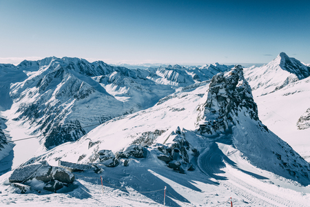 Majestic winter landscape with snow-capped mountain peaks in Mayrhofen ski area, Austria