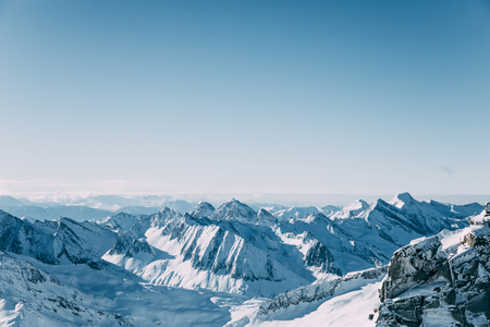 Beautiful scenic landscape with snow-covered mountain peaks in Mayrhofen ski area, Austria 写真素材