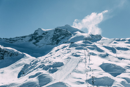 Amazing view with snow-capped mountains and cable car in Mayrhofen ski area, Austria