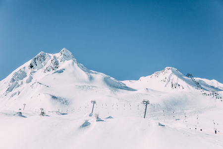 Beautiful snow-capped mountains at Mayrhofen ski area, Austria