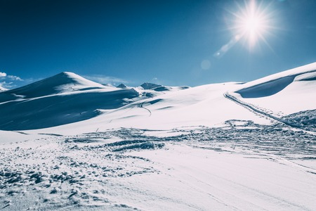 Beautiful snow-covered winter mountains at sunny day, Mayrhofen ski area, Austria 写真素材