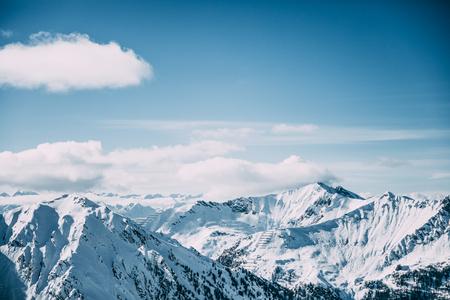 Beautiful snow-capped mountain peaks in Mayrhofen ski area, Austria