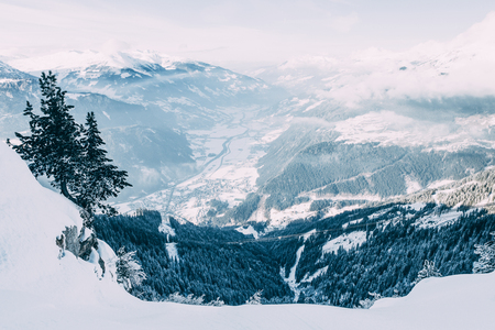 Beautiful winter landscape with snow-covered mountains in Mayrhofen ski area, Austria