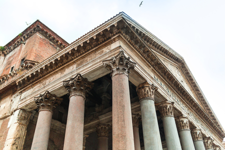 Portico of the Pantheon building with Corinthian columns