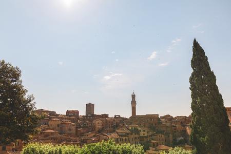 Scenic landscape view or Italian Sienna city